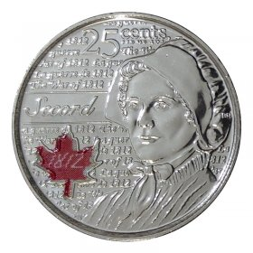 2013 Canadian 25-Cent Heroes of 1812: Laura Secord Coloured Quarter Coin (Brilliant Uncirculated)
