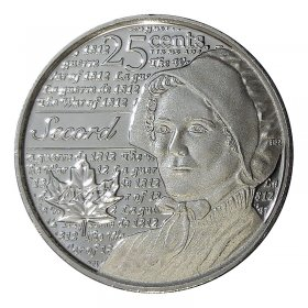 2013 Canadian 25-Cent Heroes of 1812: Laura Secord Non-coloured Quarter Coin (Brilliant Uncirculated)