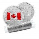 2015 Canada 25 Cent Original Coin Roll - 50th Anniversary of the Canadian Flag (Some Coloured)