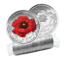 2015 Canada 25-cent Remembrance Poppy Original Coin Roll (Some Coloured)