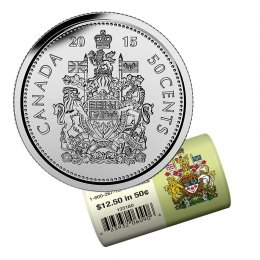 2015 Canadian 50-Cent Coat of Arms Half Dollar Special Wrap Coin Roll