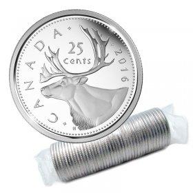 2016 Canadian 25-Cent Caribou Quarter Original Coin Roll