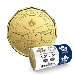 2017 (1917-) Canadian $1 Toronto Maple Leafs® 100th Anniv Loonie Dollar Special Wrap Coin Roll