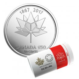 2017 (1867-) Canadian 50-Cent Official CANADA 150 Logo Half Dollar Special Wrap Coin Roll