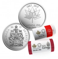 2017 50-cent Coat of Arms and Canada 150th Special Wrap Rolls - 2 Pack