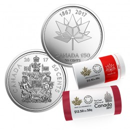 2017 Canada 50-cent Coat of Arms and Canada 150th Special Wrap Rolls - 2 Pack