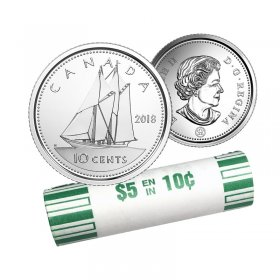 2018 Canadian 10-Cent Schooner Dime Original Coin Roll