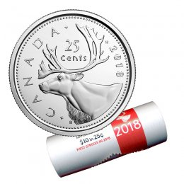 2018 Canadian 25-Cent Caribou Quarter First Strikes Special Wrap Coin Roll