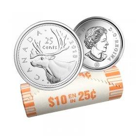 2018 Canadian 25-Cent Caribou Quarter Original Coin Roll