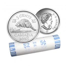 2018 Canadian 5-Cent Beaver Nickel Original Coin Roll