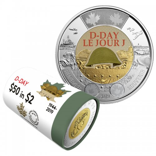 2019 (1944-) Canadian $2 D-Day 75th Anniv Remembrance Coloured Toonie Special Wrap Coin Roll