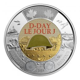 2019 (1944-) Canadian $2 D-Day 75th Anniv Remembrance Coloured Toonie Coin (Brilliant Uncirculated)