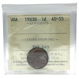 1923-S American (US) 1-Cent Lincoln Wheat Penny Coin ICCS Graded AU-55