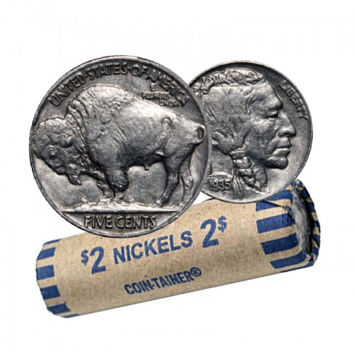 1935 United States 5 Cent Indian Head (Buffalo) Nickel Coin Roll (Circulated)