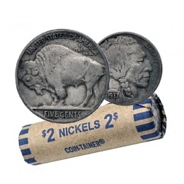 1937 United States 5 Cent Indian Head (Buffalo) Nickel Coin Roll (Circulated)