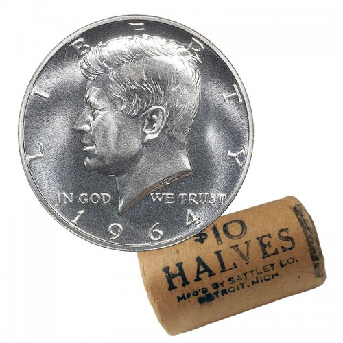 1964 US 50-Cent Kennedy Half Dollar 90% Silver Original Coin Roll