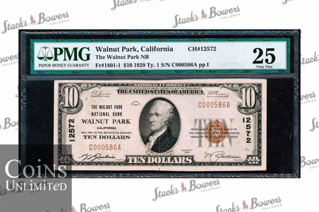 Rare US $10 Banknote Entered In Stack's Bowers Numismatic Auctions (Only 5 Known)