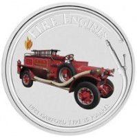 2006 Cook Islands Fine Silver Dollar Coin - Fire Engines of the World: 1923 Garford Type 15 Pumper