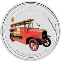 2006 Cook Islands Fine Silver Dollar Coin - Fire Engines of the World: 1923 Löschfahrzeug LF-15
