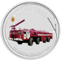 2006 Cook Islands Fine Silver Dollar Coin - Fire Engines of the World: AA-60 Airfield