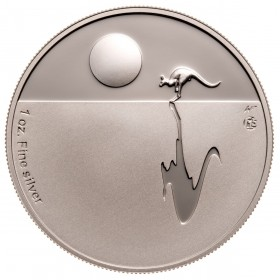 2011 Australia Fine Silver (1 oz) $1 Dollar - Kangaroo at Sunset