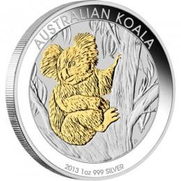 2013 Australian $1 Koala, Gilded Edition - 1 oz Fine Silver Coin