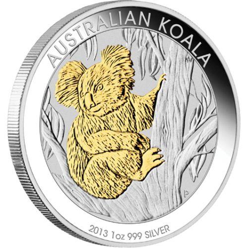2013 Australia Fine Silver $1 Coin - Gilded Australian Koala