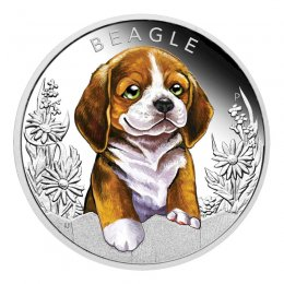 2018 Tuvalu 50-Cent Puppies Beagle 1/2 oz Fine Silver Proof Coin