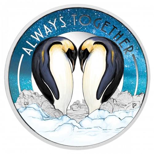 2018 Tuvalu Fine Silver 50-Cent Coin - Always Together: Penguins