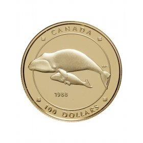 1988 Canada 14-karat Gold $100 Coin - Bowhead Whale (Balaena Mysticetus)