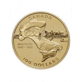 1992 (1642-) Canadian $100 City of Montreal 350th Anniv Proof 14-karat Gold Coin