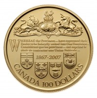 2007 Gold 100 Dollar Coin - 140th Anniversary of the Dominion of Canada