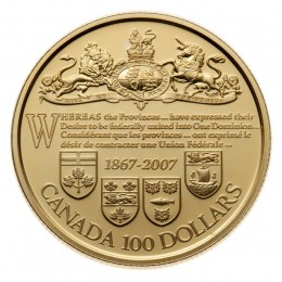 2007 Canada 14-karat Gold $100 Coin - 140th Anniversary of the Dominion of Canada