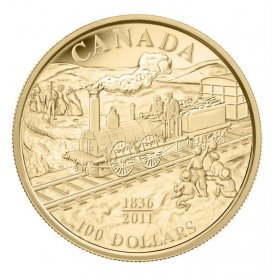 2011 Canada 14-karat Gold $100 Coin - 175th Anniversary of Canada's First Rail Road
