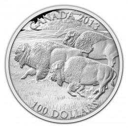 2013 Canadian $100 for $100 Bison Stampede Fine Silver Coin