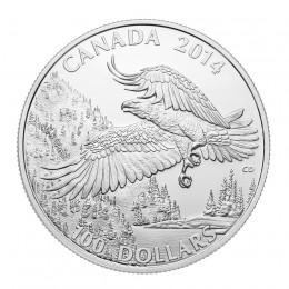 2014 Canadian $100 for $100 Majestic Bald Eagle Fine Silver Coin