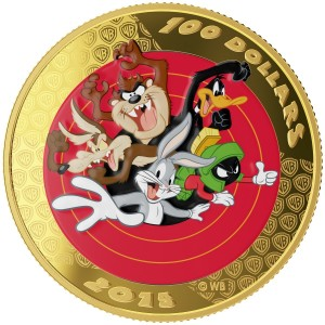 2015 Canada 14-karat Gold $100 Coin & Pocket Watch - Looney Tunes™ Bugs Bunny and Friends