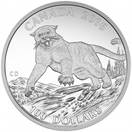 2016 Canadian $100 for $100 Cougar: Silent Giant of the Americas Fine Silver Coin