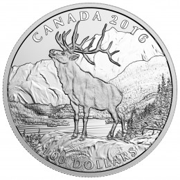 2016 Canadian $100 for $100 The Noble Elk Fine Silver Coin