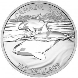 2016 Canadian $100 for $100 The Orca: Ruler of the Seas Fine Silver Coin