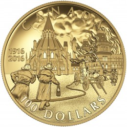 2016 Canadian $100 Centennial of the Parliament Buildings Fire - 14-karat Gold Coin