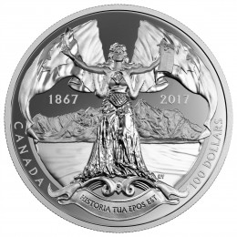 2017 (1867-) Canadian $100 Canadian Confederation Medals: Historia Tua Epos Est, The 150th Anniversary Of Canadian Confederation - 10 oz Fine Silver Coin