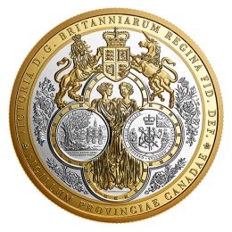 2019 Canadian $100 Great Seal of the Province of Canada (1841-1867) - 10 oz Fine Silver & Gold-plated Coin