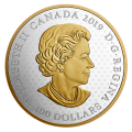 2019 Canadian $100 Great Seal of the Province of Canada (1841-1867) - 10 oz Fine Silver & Gold-plated Coin- a few minor blemishes on edge/rim of coin