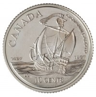 1997 Sterling Silver 10 Cent Coin - 500th Anniversary of Caboto's First Transatlantic Voyage