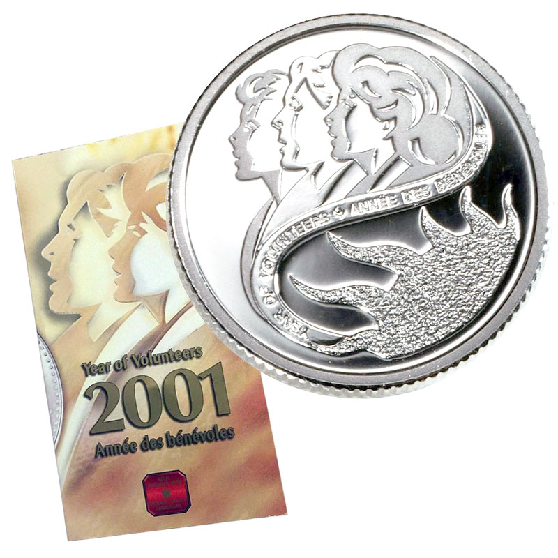 Canada  2001 Volunteer 10 Cents Sterling Silver
