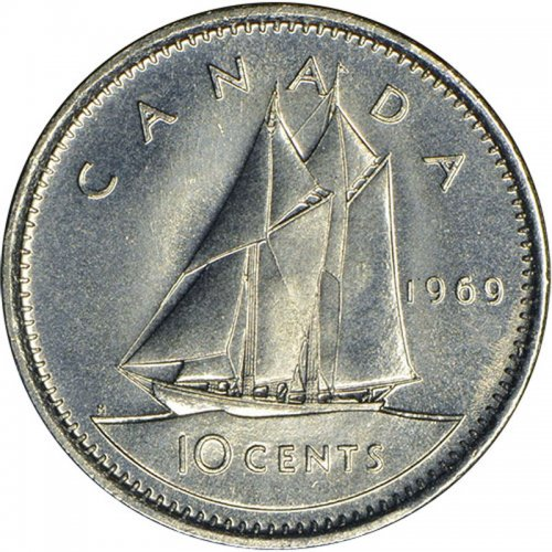 1969 Canadian 10-Cent Bluenose Schooner Dime Coin (Brilliant Uncirculated)