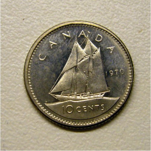 1970 Canadian 10-Cent Bluenose Schooner Dime Coin (Brilliant Uncirculated)