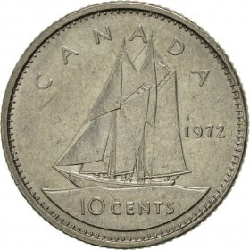 1972 Canadian 10-Cent Bluenose Schooner Dime Coin (Brilliant Uncirculated)