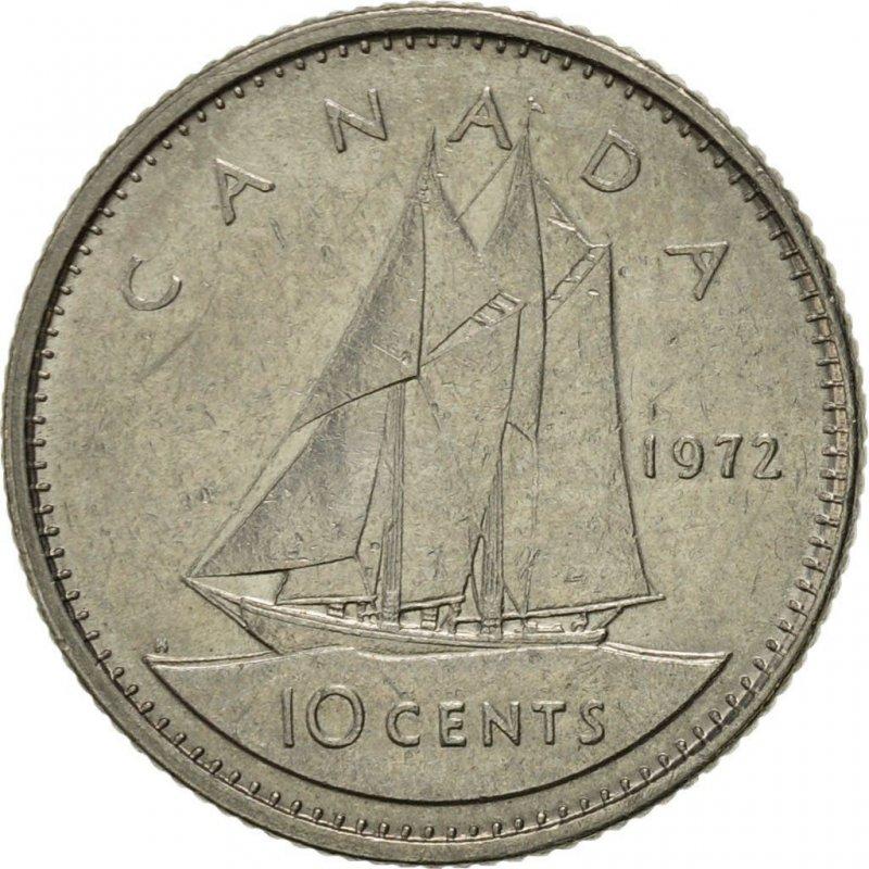 1972 Canadian 10-Cent Bluenose Schooner Dime Coin ...